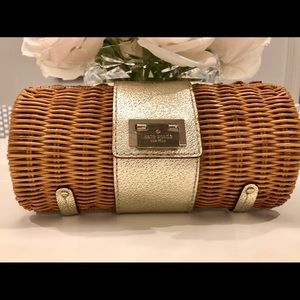 Kate Spade wicker clutch with gold trim